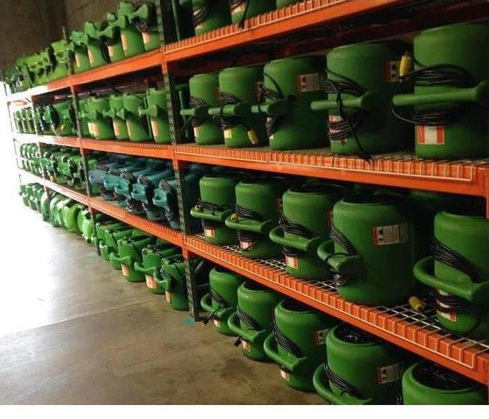 Rows and rows of our equipment in our warehouse